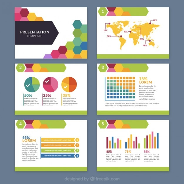 Colored hexagonal business presentation Free Vector