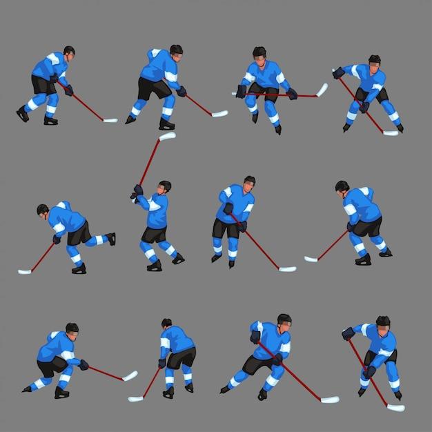 Набор цветных хоккеистов Premium векторы