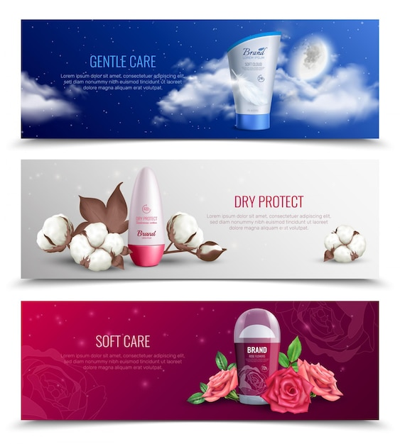 Colored horizontal banners presenting deodorant providing gentle and soft care and dry protect realistic Free Vector