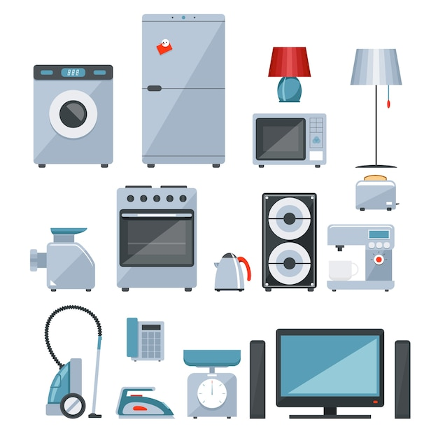 Colored icons of different types of home appliances Free Vector