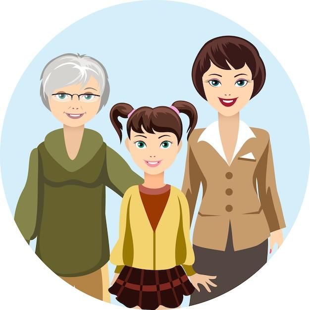 Цветные иллюстрации мультяшных женщин в разном возрасте Бесплатные векторы