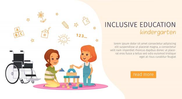 Colored inclusion inclusive education banner with kindergarden description and read more button Free Vector