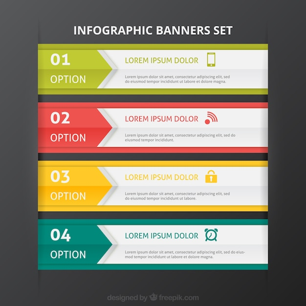 Colored infographic banners template set Vector | Free Download