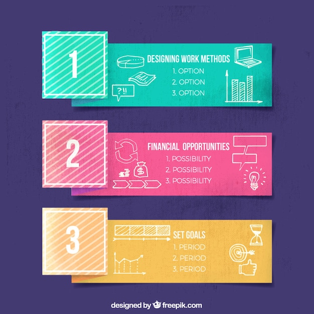 Colored infographic banners with hand-drawn items Free Vector