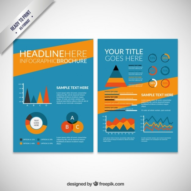 Colored infographic brochure Free Vector