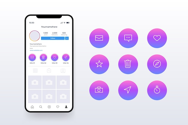 Colored instagram gradient stories highlights Free Vector