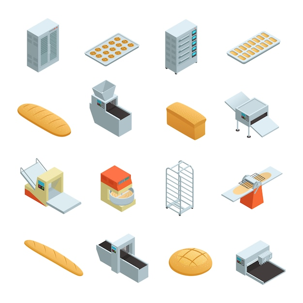 Colored and isolated bakery factory isometric icon set with elements and tools for baking bread vect Free Vector