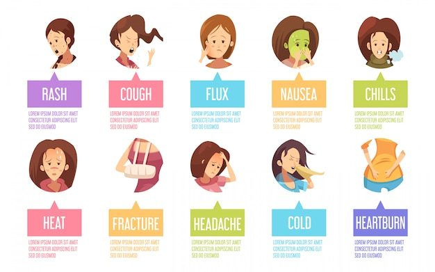 Colored and isolated cartoon sickness woman icon set with nausea rash cough heat fracture and others Free Vector