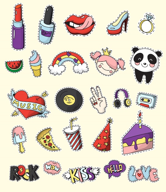 Colored and isolated fashion patch badge set cartoon and 80s 90s comic style Free Vector