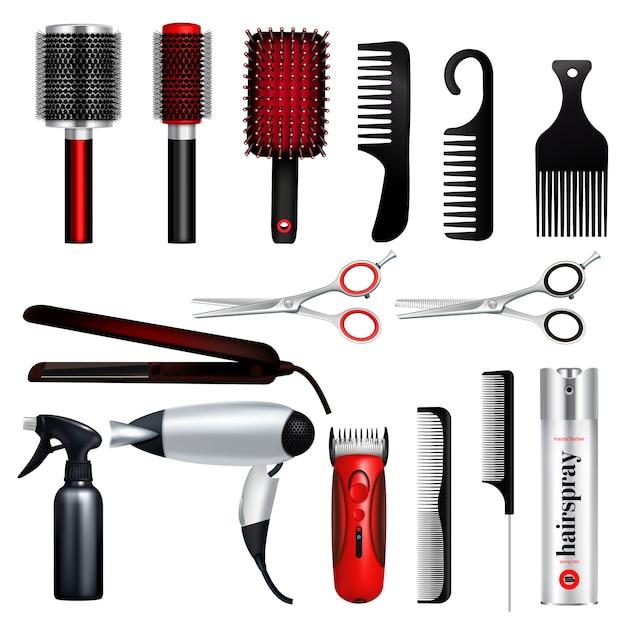 La grande icona colorata ed isolata del parrucchiere ha messo con gli strumenti professionali dell'illustrazione di vettore del parrucchiere Vettore gratuito