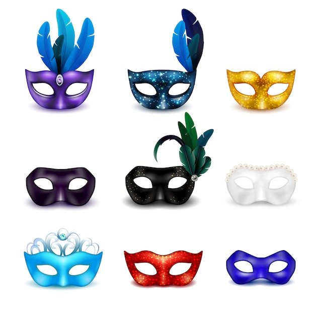 Colored isolated masquerade mask realistic icon set Free Vector
