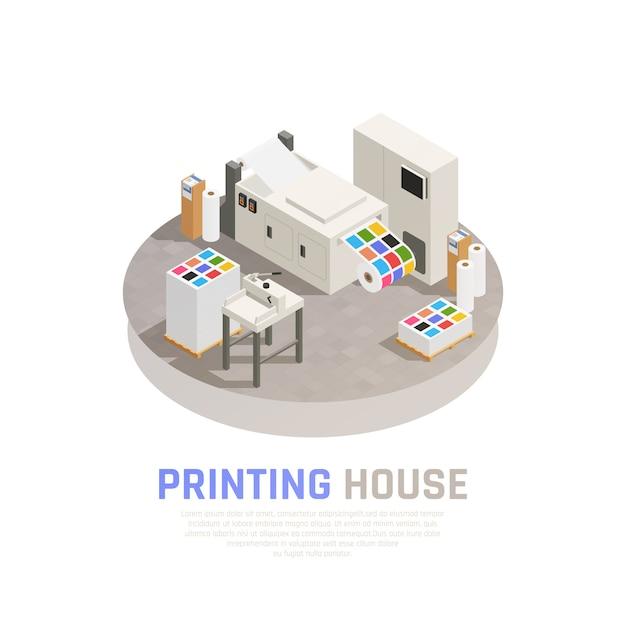 Composizione isometrica colorata e isolata nella poligrafia della tipografia con l'illustrazione monocromatica di vettore della sala stampa a colori Vettore gratuito