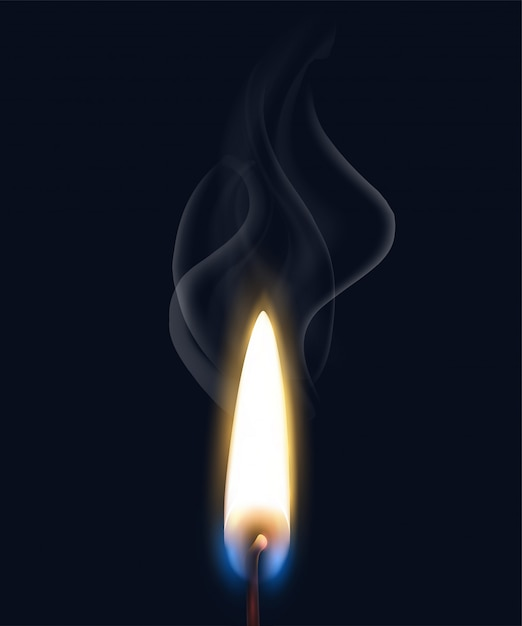 Colored isolated realistic burning flame smoke composition with realistic match flame on black background  illustration Free Vector