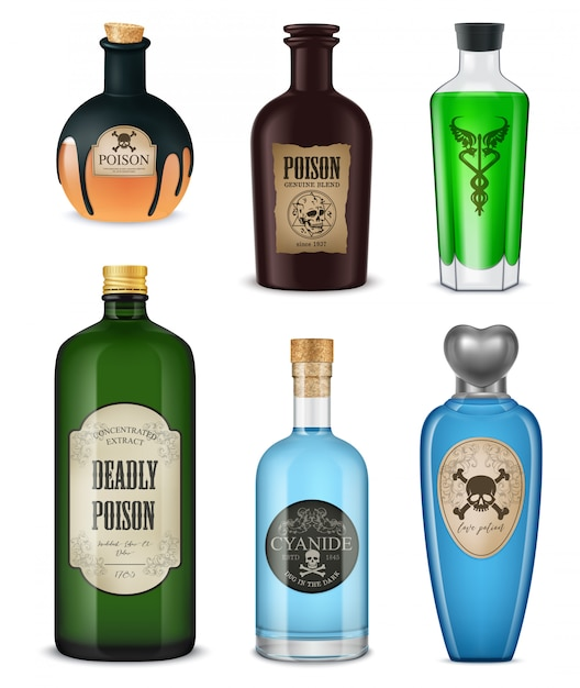 Colored and isolated realistic poison set different shapes colors and styles vector illustration Free Vector