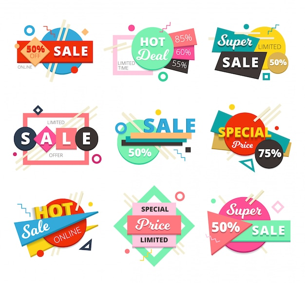 Colored and isolated sale material design geometric icon set with super sale and special price descriptions Free Vector