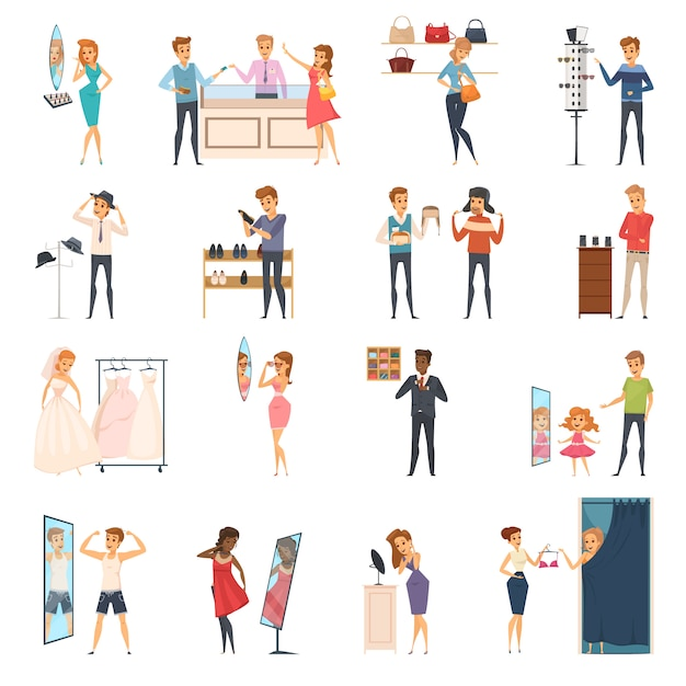 Colored and isolated trying shop flat people icon set with trying on clothes in store Free Vector
