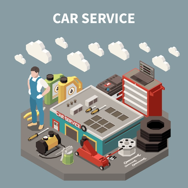 Colored isometric car service composition with worker man at the work and equipment tools  illustration Free Vector