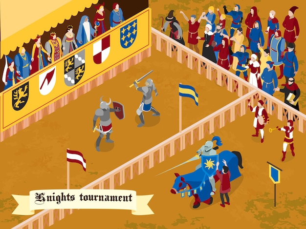 Colored and isometric medieval composition with knights tournament headline on white ribbon Free Vector