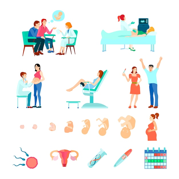 Colored isometric midwifery obstetrics gestation icon set with stages of pregnancy and seeing a doctor Free Vector