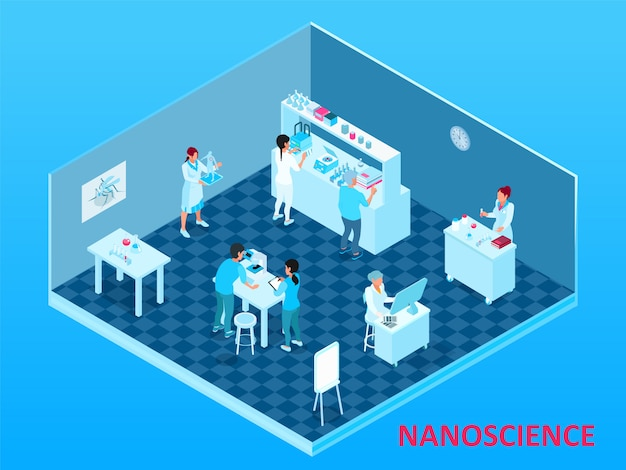 Colored isometric nanotechnology composition with isolated laboratory room with scientists and equipment Free Vector