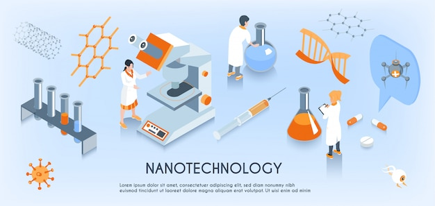 Colored isometric nanotechnology horizontal composition with scientist work in the laboratory Free Vector