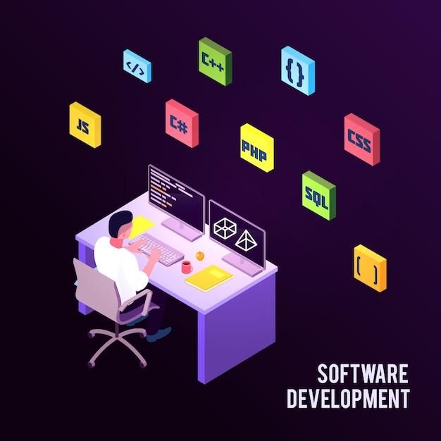 Цветная изометрическая композиция для программистов с описанием разработки программного обеспечения и человеком, сидящим на работе Бесплатные векторы