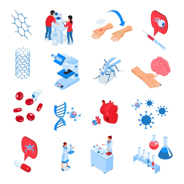 L'icona colorata dei laboratori di ricerca isometrica ha messo con gli elementi e gli strumenti per i futuri sviluppi della scienza Vettore gratuito