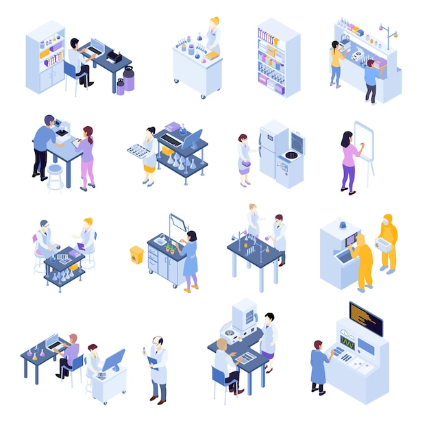 Colored isometric scientific laboratory icon set with laboratory workers on their workplaces Free Vector