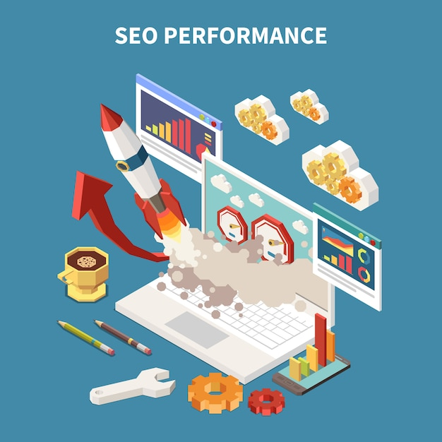Colored and isometric web seo composition with different abstract elements in notebook  illustration Free Vector
