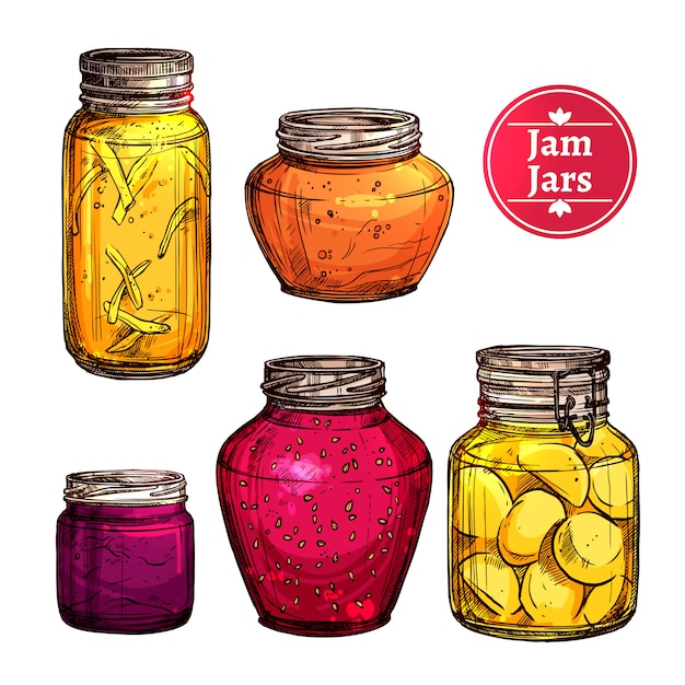 Colored jam jars Free Vector