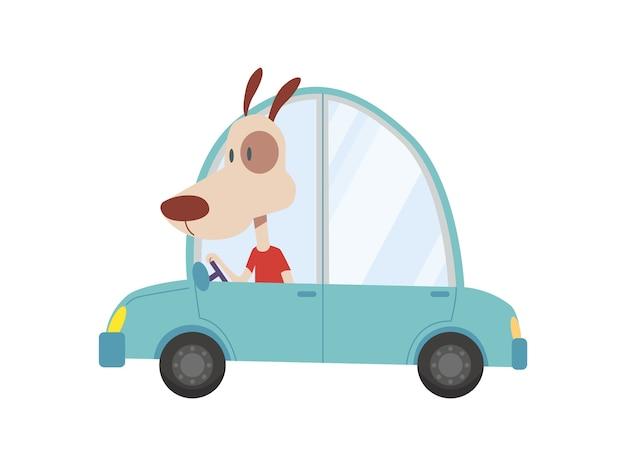 着色された子供たちはかわいい犬と一緒に輸送します。 Premiumベクター