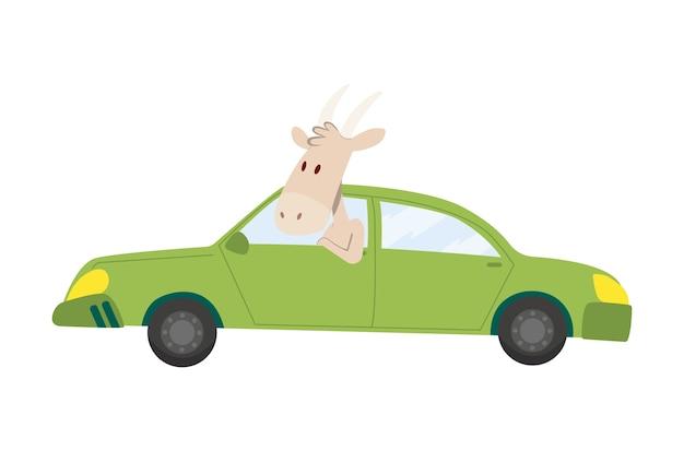 着色された子供たちはかわいいヤギと一緒に輸送します。 Premiumベクター