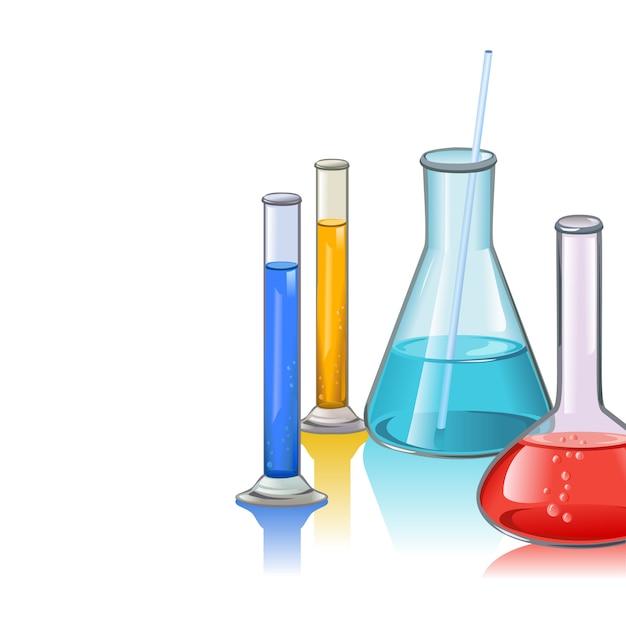 Colored laboratory flasks glassware Free Vector
