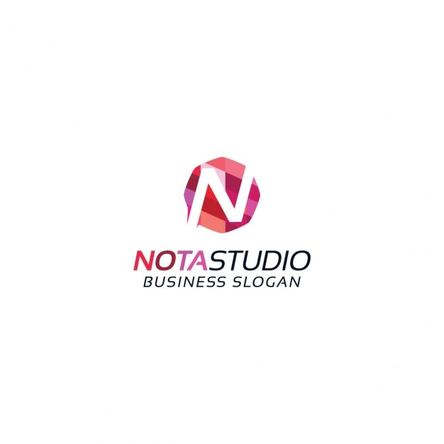 Colored letter n logotype Free Vector