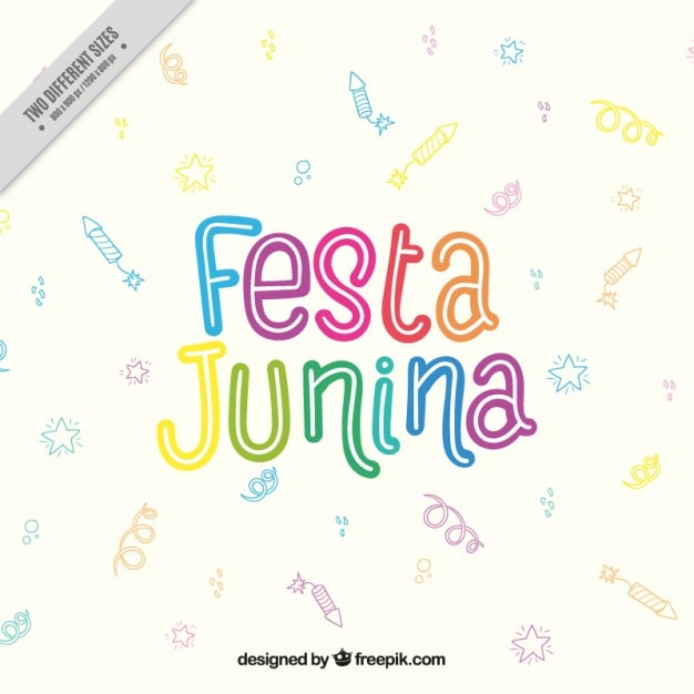 Colored Letters With Drawings Background Of Festa Junina Free Vector