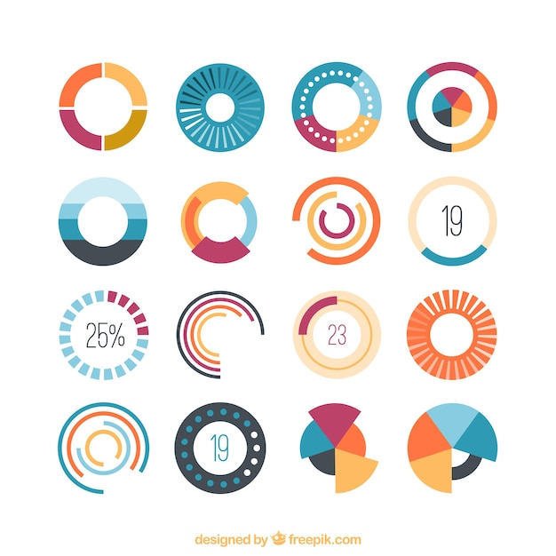 Colored loading icons Premium Vector