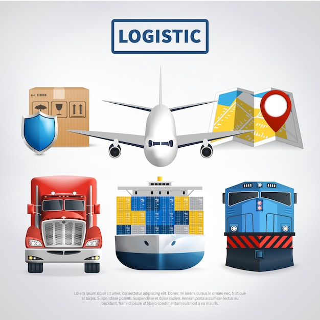 Colored logistic template Free Vector