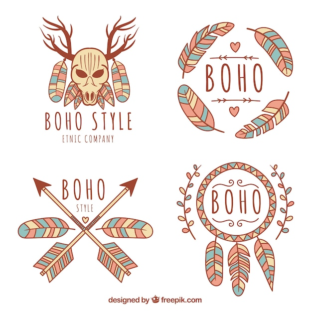 Colored logos in boho style Free Vector