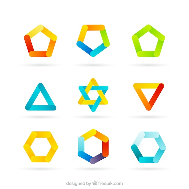Colored logos in geometric style Vector | Free Download