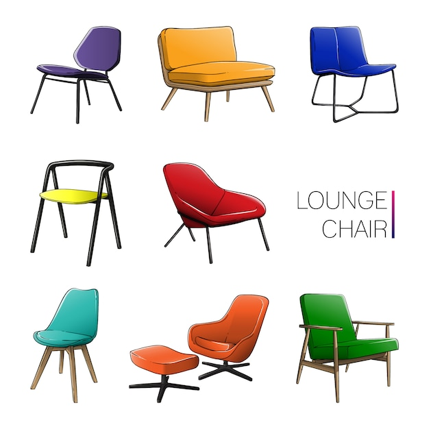 Colored lounge chair set Premium Vector