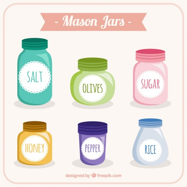 Colored mason jars Free Vector