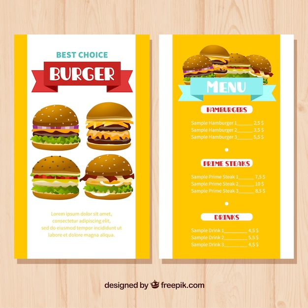Colored Menu Template With Variety Of Burgers Vector | Free Download