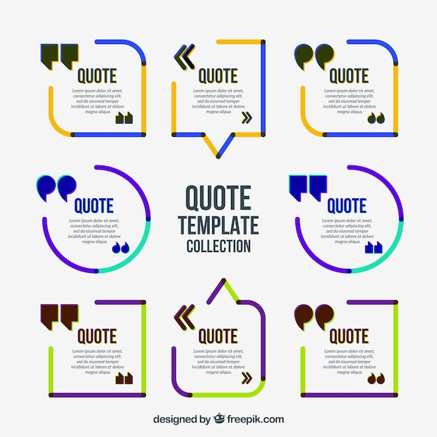 Colored Minimalist Quote Frames Vector | Free Download