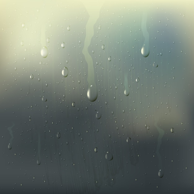 Colored misted wet glass drops realistic composition with rain stains on the window Free Vector