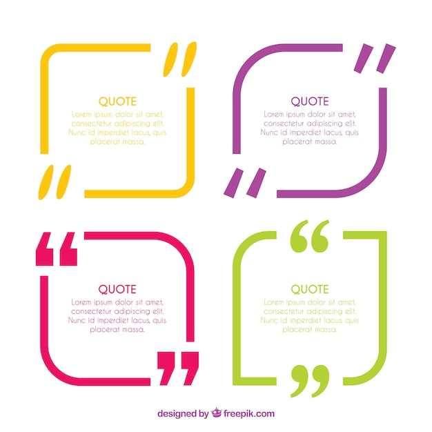 Colored modern quotation templates Vector – Free Download Quotation Template