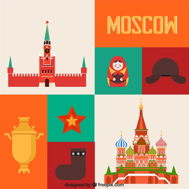 Colored moscow elements Free Vector