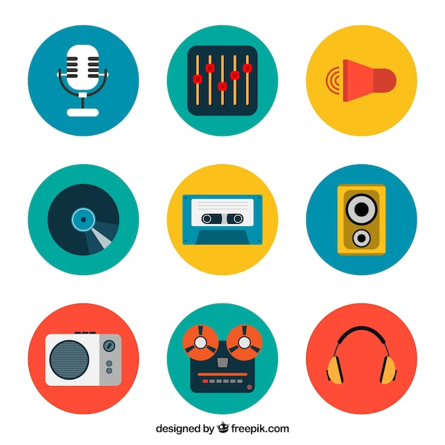 Colored music icons collection Free Vector