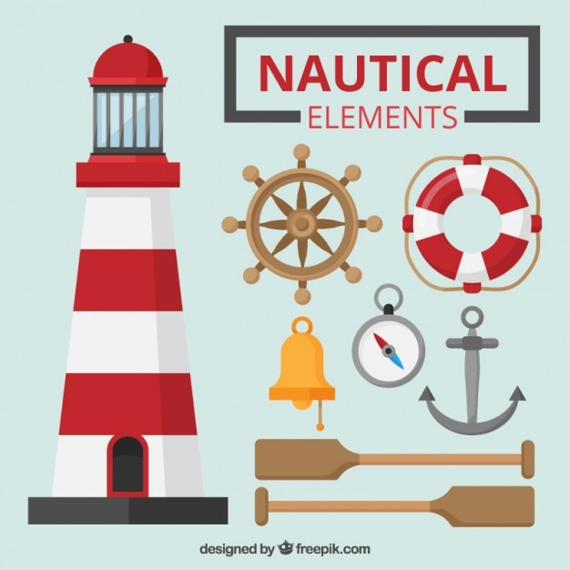 Colored nautical elements set Free Vector