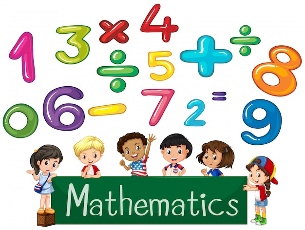 Colored numbers and children Mathematics Vector | Premium Download