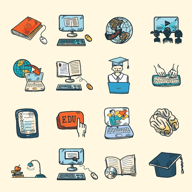 Colored online education graduation and\ e-learning icons sketch set isolated vector illustration